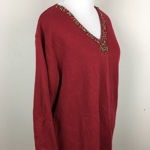 Denim & Co Maroon Red Tunic Wooden Beads L